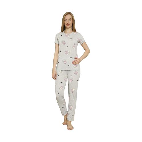 MUKA Women's 2-Piece Sleepwear T-Shirt and Pants Turkish Cotton Pajama Set.