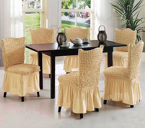 Stretchable Dining Chair Covers 6- Piece Set
