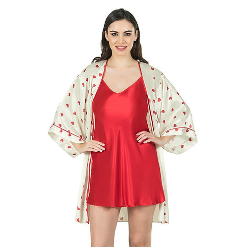 Fabienne Women's Heart Printed Satin Nightwear Robe Set with Gown