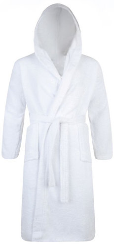 WHITE TERRY BATHROBE HOODED UNISEX - MADE IN TURKEY