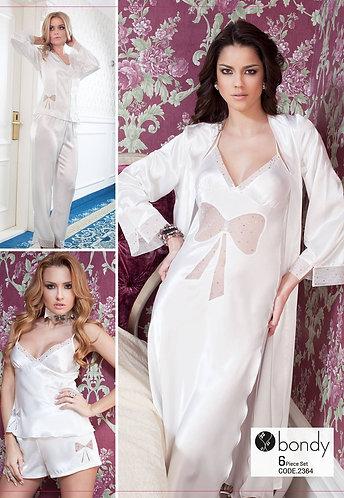 Bondy 6 Piece Nightwear Set, Off White