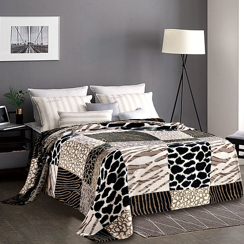 Fabienne Silky Soft Bed Blanket Flannel Throw King Size with Animal Prints for B