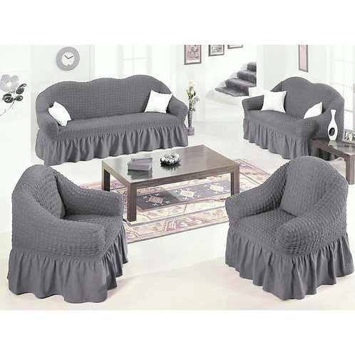 4-Piece Stretchable Sofa Cover Set 7 seater (3211) Free Size