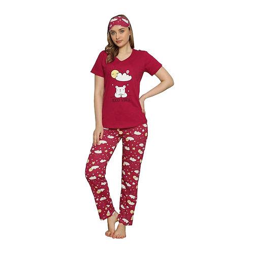 Boyraz Women's Pajama Set with Eye Mask