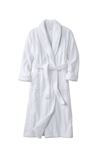 WHITE TERRY BATHROBE - MADE IN TURKEY