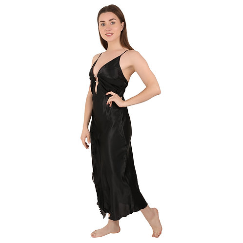 Bondy Lingerie Sexy Satin Nightgown Deep V Neck Sleepwear Nightdress for Women