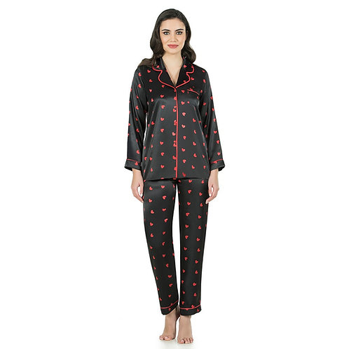 Fabienne Women's Satin Pajama Set Red Heart Printed Notch Collar Sleepwear