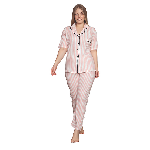 MUKA Women's Plus Size 2 Piece Sleepwear Top and Pants Turkish Cotton Plus Size