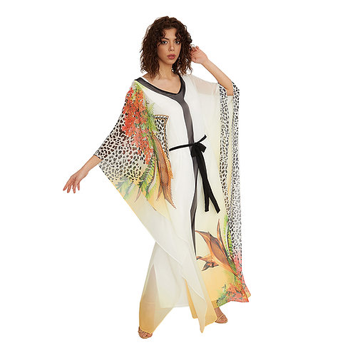 Fabienne Women's Fancy Kaftan Dress Long Abaya Jalabiya Maxi Party Loungewear Ho