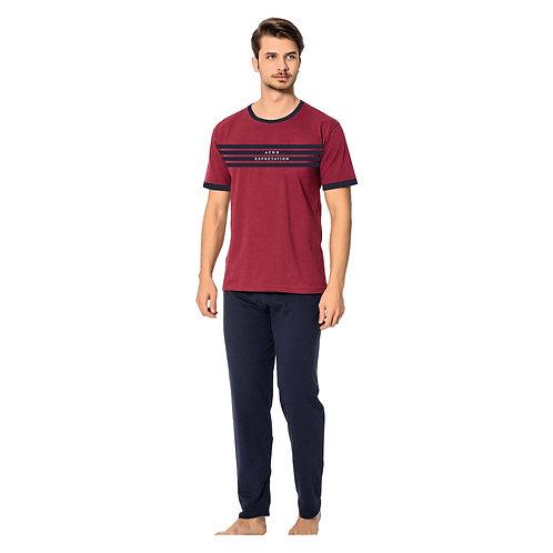 Ayans Men's Sleepwear T-Shirt and Pants Turkish Cotton Pajama Set