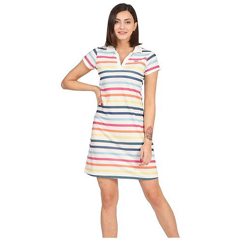 Stripe Printed Body Con Dress Slim Fit Stretchable Turkish Polo Dress For Women