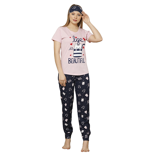 Boyraz Women's Pajama Set with Eye Mask