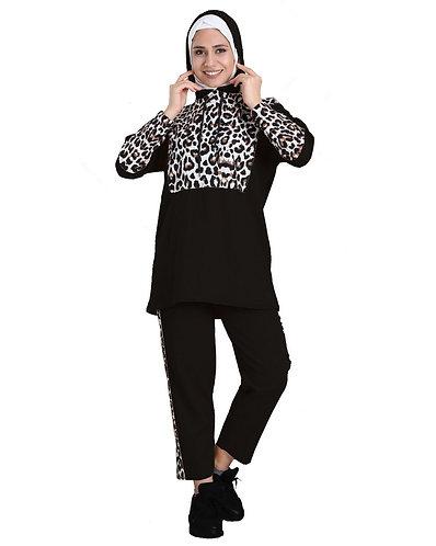 Fabienne Leopard Striped Long Sleeve Top Pants Set Tracksuits for Women