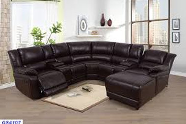 GS4107 Leather Sectional with Chaise