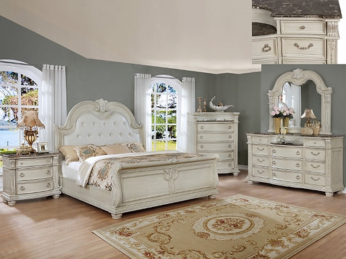 STANLEY ANTQ WHITE BEDROOM GROUP-QUEEN