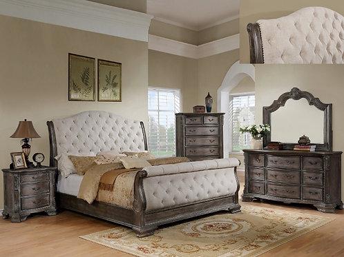 SHEFFIELD GREY SLEIGH BEDROOM-QUEEN