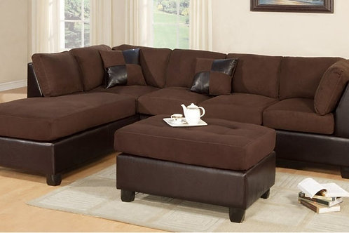 Two Tone Chocolate Sectional Chaise W/Ottoman