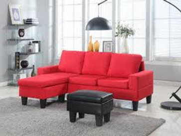 Red Microfiber Sectional W/ Storage Ottoman
