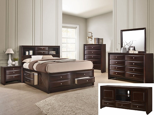 EMILY STORAGE DARK CHERRY BEDROOM-QUEEN
