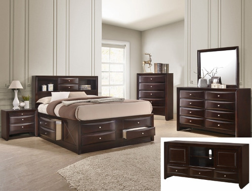 Emily Modern Dark Cherry Finish Storage Bedroom Set 5 Pcs.