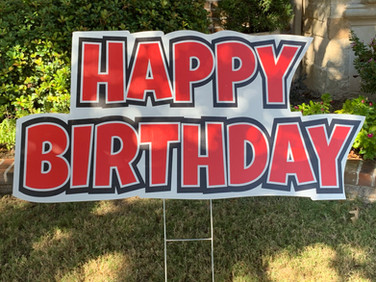 HAPPY BIRTHDAY RED AND BLACK FLASH SIGN.