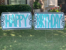 Happy Birthday (2 Sign - Teal)