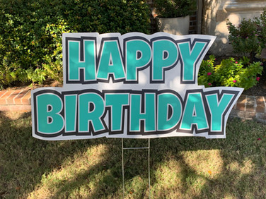 HAPPY BIRTHDAY TEAL AND BLACK FLASH SIGN