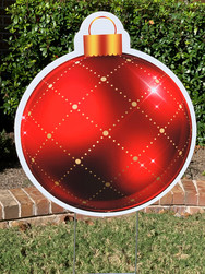 RED GOLD PLAID ORNAMENT