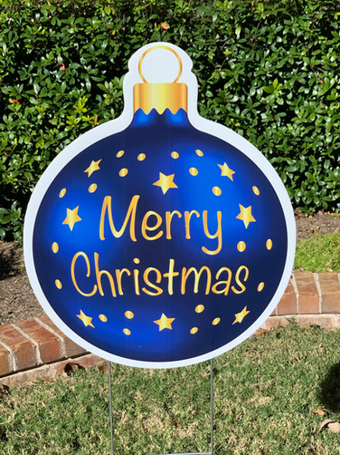 MERRY CHRISTMAS BLUE GOLD ORNAMENT