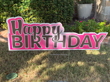 Happy Birthday - Pink Background/Black Letters