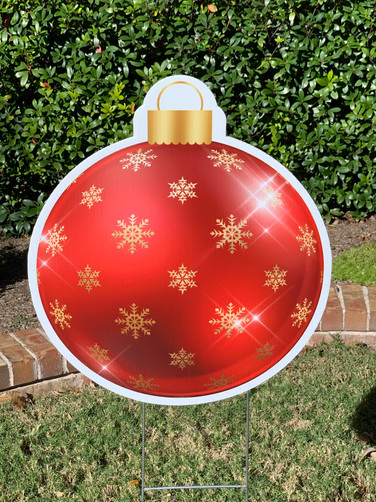 RED GOLD SNOWFLAKE ORNAMENT