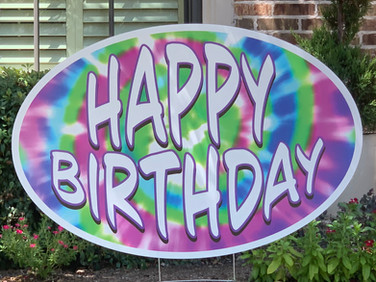 LARGE HAPPY BIRTHDAY ROUND 1 BLUE PURPLE