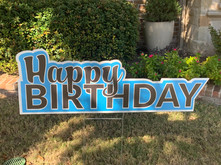Happy Birthday - Blue Background/Black Letters