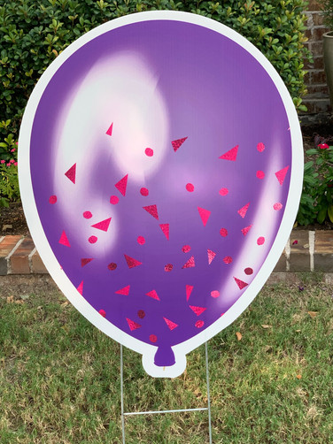 PURPLE SPARKLE WITH RED BALLOON
