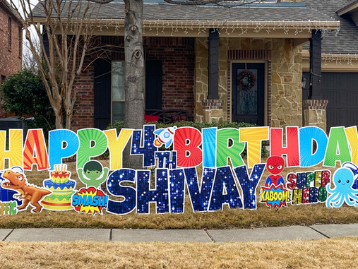 Happy Birthday Yard Sign With Dinosaurs, Super Heroes, and Outer Space...No Problem!