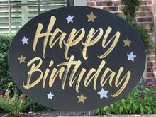 Happy Birthday - Black/Gold (Oval Shape)