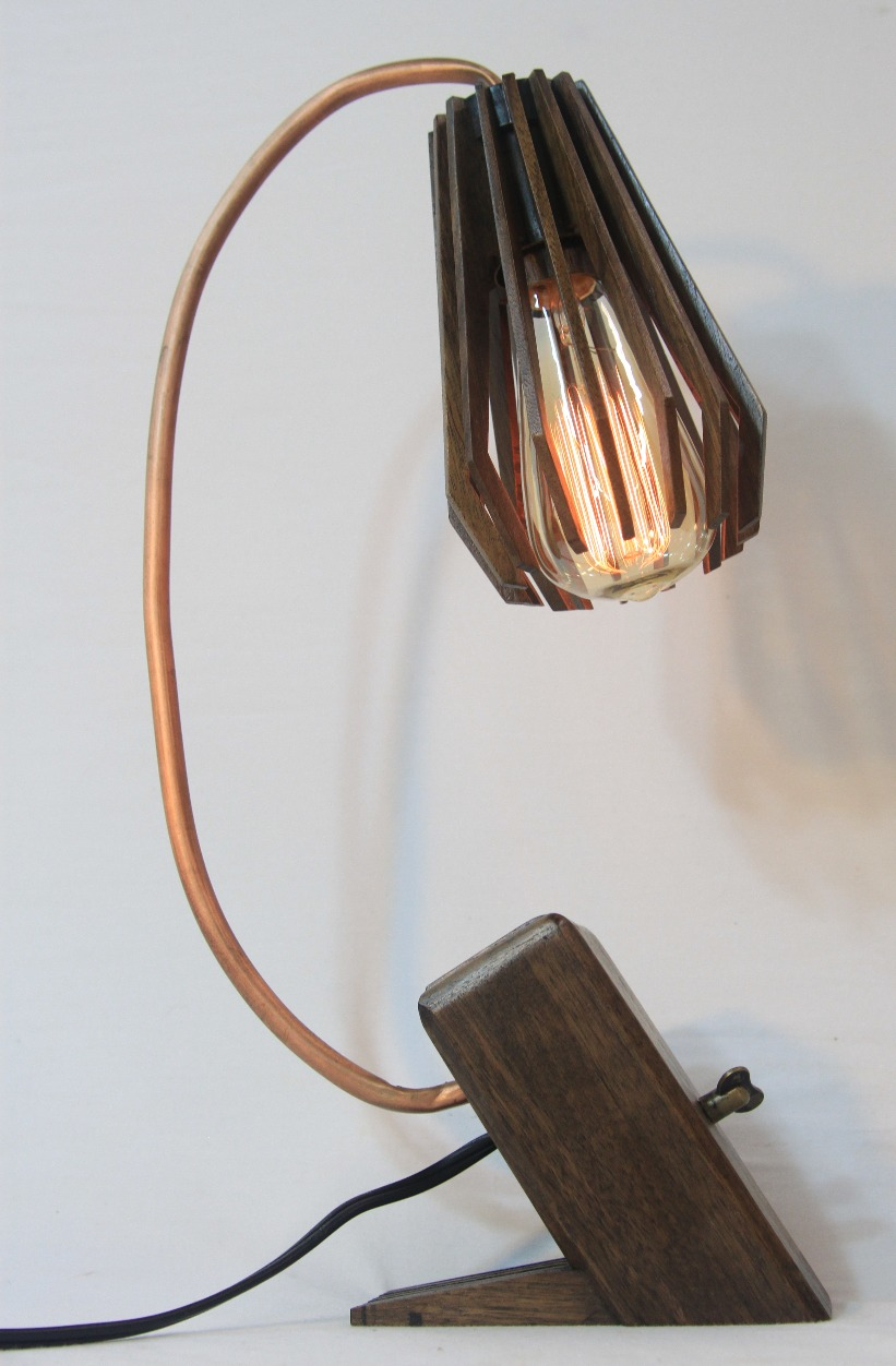 Walnut and Copper Spline Lamp