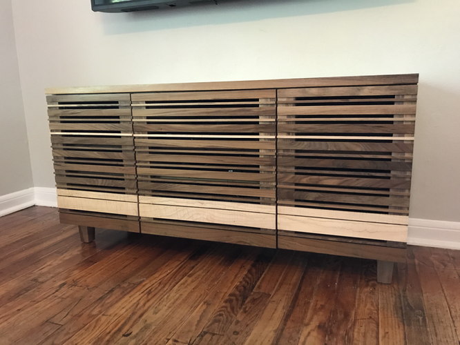 Walnut and Maple Entertainment Center