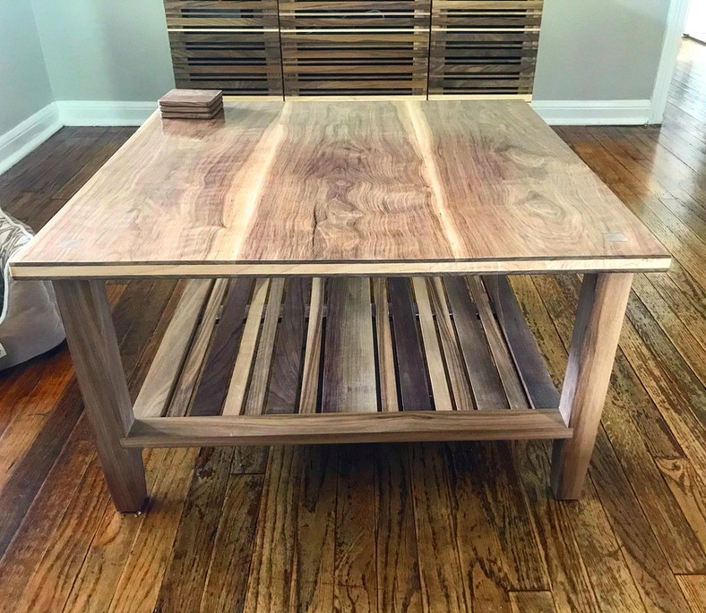 Solid Walnut and Maple Coffee Table