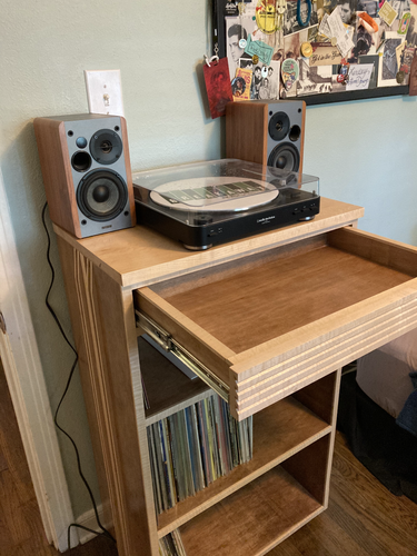 Maple Record Player Cabinet.