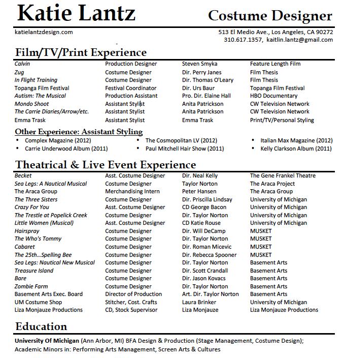 Nice Katie Lantz  Costume Designer Resume