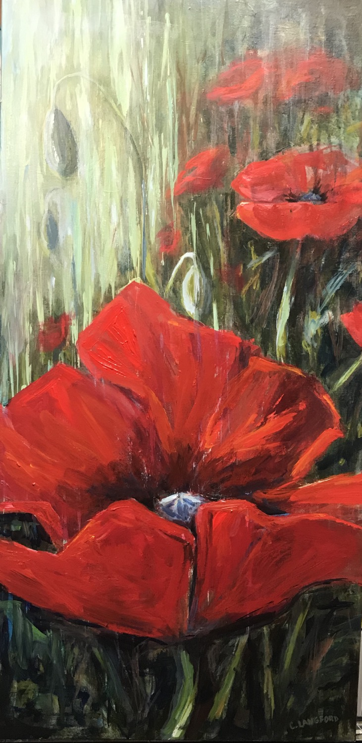 18x36 Poppies in the Rain $550