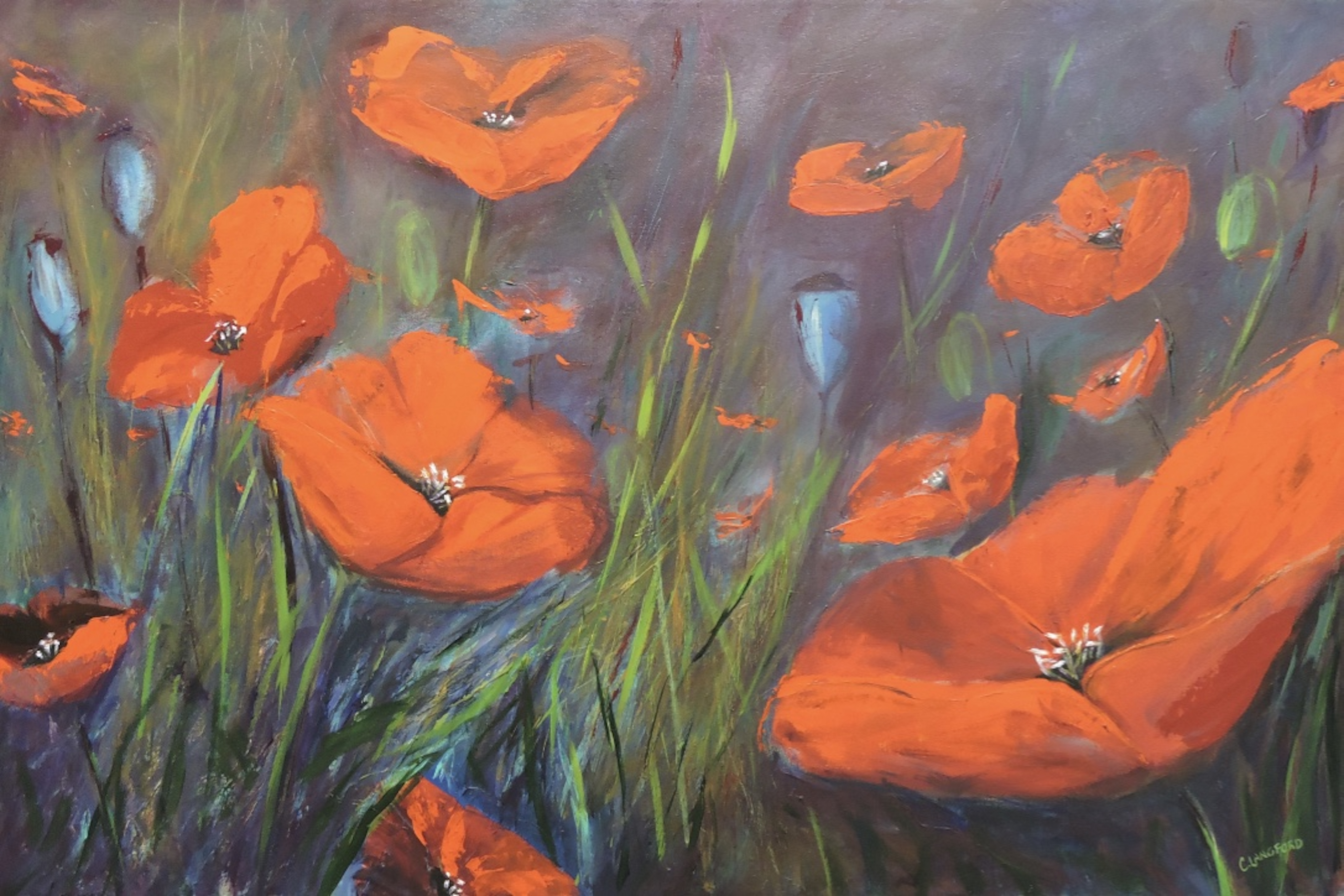 24x36 Pretty Poppies $995