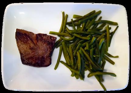 Pièce de bœuf haricots verts frais