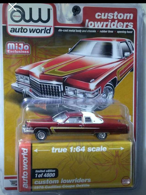 Auto World Lowrider Series 1976 Cadillac Coupe Deville Candy Red Chrome Rims