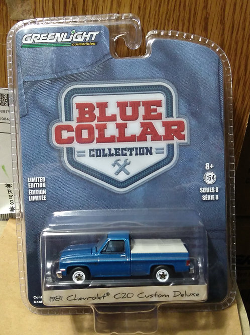 GreenLight  Blue Collar Series 1981 Chevy C20 Custom Deluxe PU   1:64 Scal