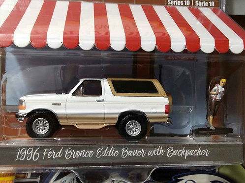 Hobby Shop GreenLight 1996 Ford Bronco Eddie Bauer W/Backpacker 1:64 Scale