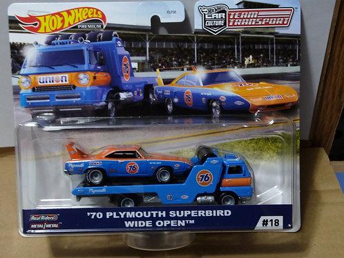 Hot Wheels Team Transport  '70 Plymouth Superbird & Wide Open