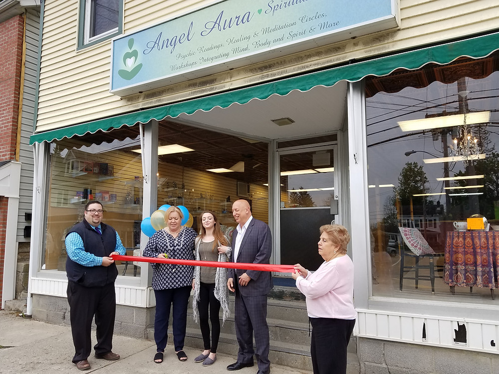 Angel Aura Spiritual Boutique ribbon cutting. Tarot Cards, Psychics, Crystals, Reiki Healing.