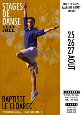 Stage de danse Jazz avec Baptiste Le Cloarec à l'école de danse !  Inscriptions par mail auprès de Baptiste !
